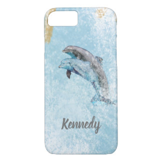 Jumping Dolphins Coastal Theme Art iPhone 8/7 Case