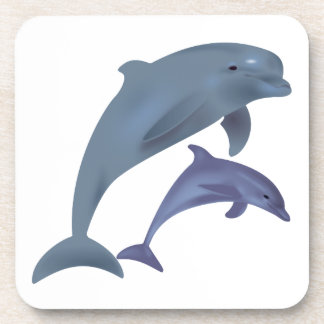 Jumping dolphins illustration beverage coasters