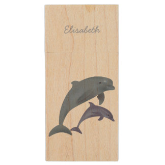 Jumping dolphins illustration name wood USB flash drive