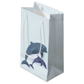 Jumping dolphins illustration small gift bag