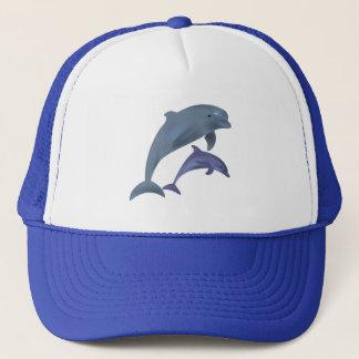 Jumping dolphins illustration trucker hat