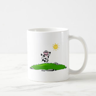 Jumping for Joy Cow on Grass Coffee Mug