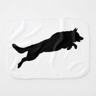 Jumping German Shepherd Silhouette Love Dogs Burp Cloth