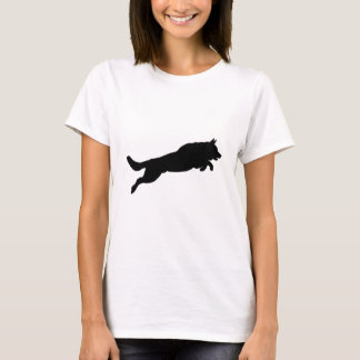 Jumping German Shepherd Silhouette Love Dogs T-Shirt