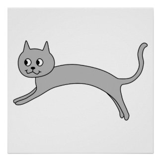 Jumping Gray Cat. Poster