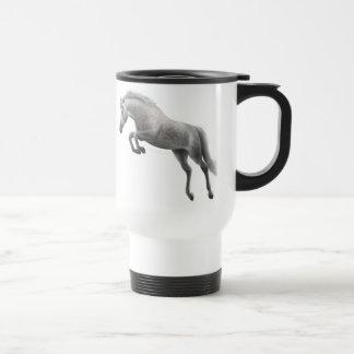 Jumping Gray Horse Travel Mug