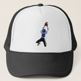 Jumping High for a Football Catch Trucker Hat