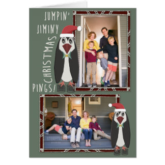 Jumping Jiminy Christmas Photos - Personalised Card