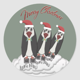 Jumping Jiminy Christmas Pogo Penguins Classic Round Sticker