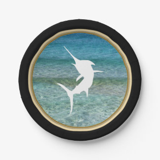 Jumping Marlin Ocean Black and Faux Gold 7 Inch Paper Plate
