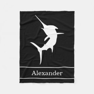 Jumping Marlin Silhouette On Black With Name Fleece Blanket