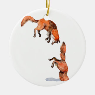 Jumping Red Fox Ceramic Ornament