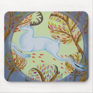 Jumping White Hart. Mouse Pad