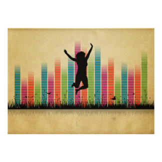 Jumping Women In Nature Poster