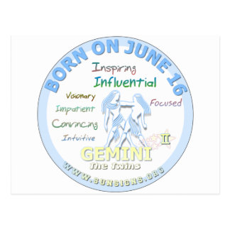 June 16th Birthday - Gemini Post Cards