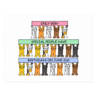 June 21st Birthday Cats Postcard