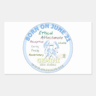 June 21st Birthday - Gemini Rectangular Stickers