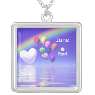 June Birthday Pearl Heart Silver Plated Necklace