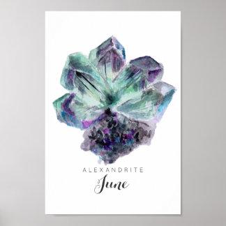 June Birthstone - Alexandrite Watercolor | Poster