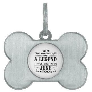 June month Legends tshirts Pet Name Tag