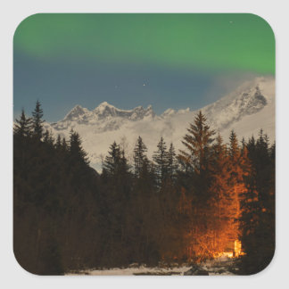 Juneau's Northern Lights Square Sticker