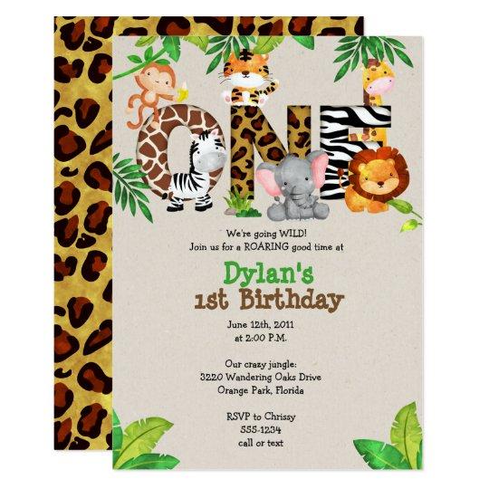 Jungle 1st Birthday Party Invitations