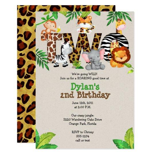 Jungle 2nd Birthday Party Invitations
