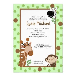 JUNGLE ADVENTURE Green Safari Baby Shower 5x7 Personalized Invite