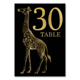 Jungle African Animal Giraffe Table Number Card 30