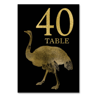 Jungle African Animal Ostrich Table Number Card 40