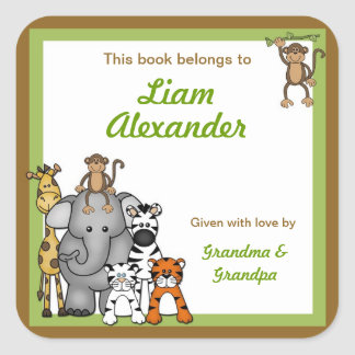 Jungle Animal Baby Shower bookplates Square Sticker