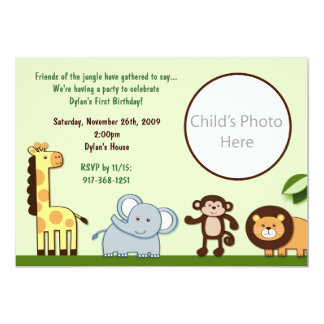 Jungle Animal Friends Photo Birthday Invitation