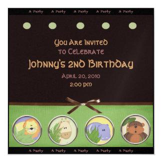 """Jungle Animal Party Invitation 5.25"""" Square Invitation Card"""