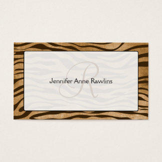 Jungle Animal Print Monogram Initial Business Card