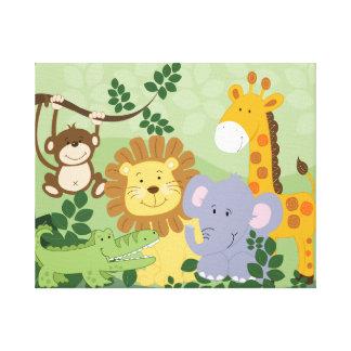 Jungle Animal Safari Nursery Art Canvas 16x20