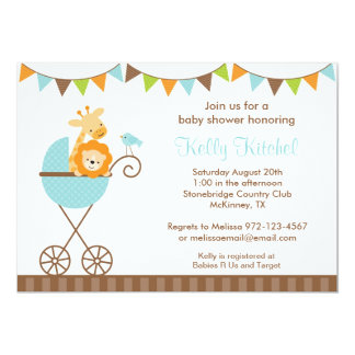 Jungle Animals and Bunting Invitations