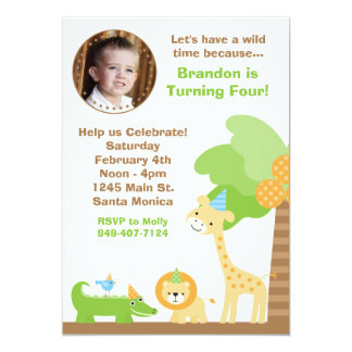 "Jungle Animals Birthday Party Invitation 5"" X 7"" Invitation Card"