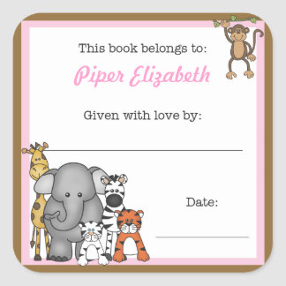 Jungle Animals Book Plate Pink Girl BOOKPLATE Square Sticker