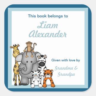 Jungle Animals Book Plates Blue Boy BOOKPLATE Square Sticker