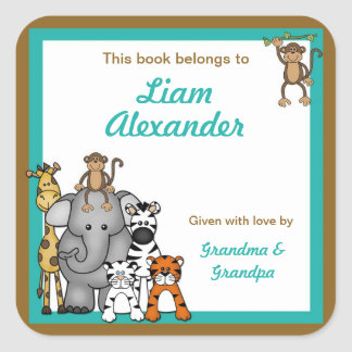 Jungle Animals Book Plates Teal Boy BOOKPLATE Square Sticker