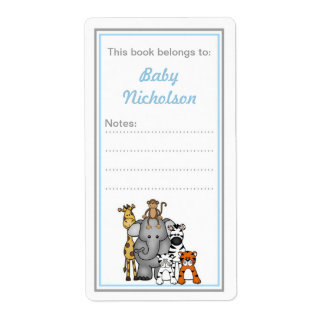 Jungle Animals bookplates blue gray baby shower Shipping Label