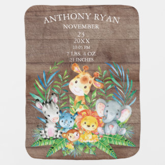 Jungle Animals Boys   Girl Birth Stats Blanket