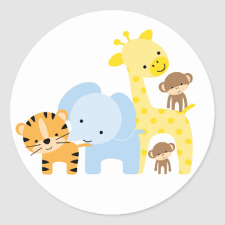 Jungle Animals Envelope Seals Round Sticker