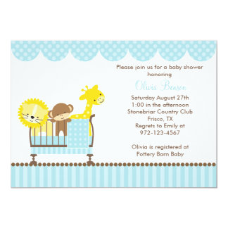 Jungle Animals in a Crib (Blue) Invitations