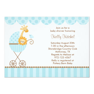 Jungle Animals in Blue Stroller Invitations