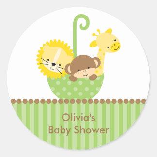Jungle Animals in Green Umbrella Stickers Round Sticker