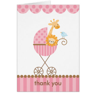 Jungle Animals in Pink Stroller Notecards Card