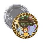 Jungle Animals on Brown Giraffe Animal Print Buttons