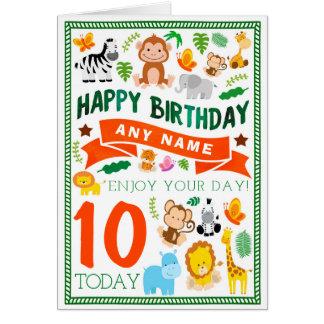 Jungle Animals Personalised Birthday Card