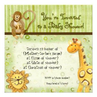 Jungle Babies Boy Baby Shower Invitation - Green